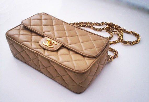 REDUCED Vintage champagne CHANEL purse
