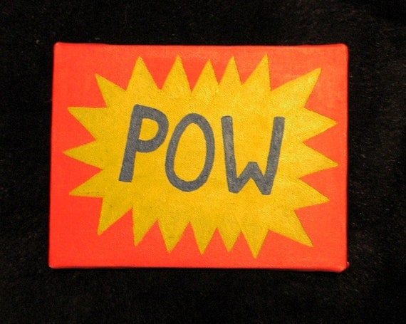 "Small POP ""POW"" Primitive Oil Painting"