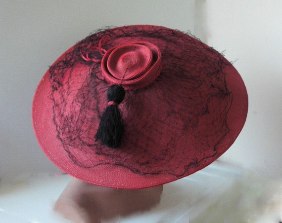 Reserved for Yvonne REDUCED / LARGE brimmed red straw vintage 1930s-1940's hat