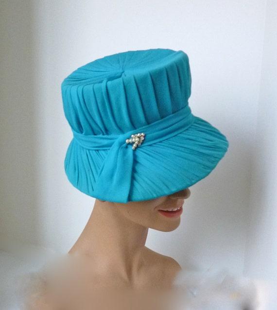 Late 50s Turquoise Silk Chiffon Hat