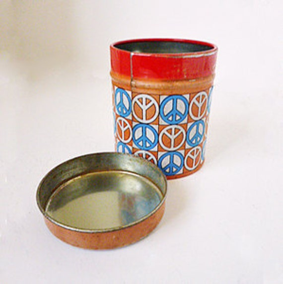 1960s Hippy or Peace-Nik Stash Tin