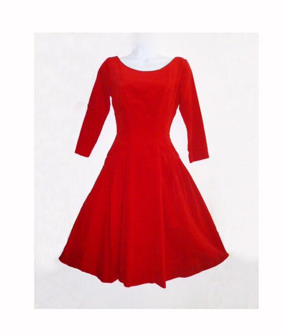1950s Red Velvet Mad Men Holiday Dress