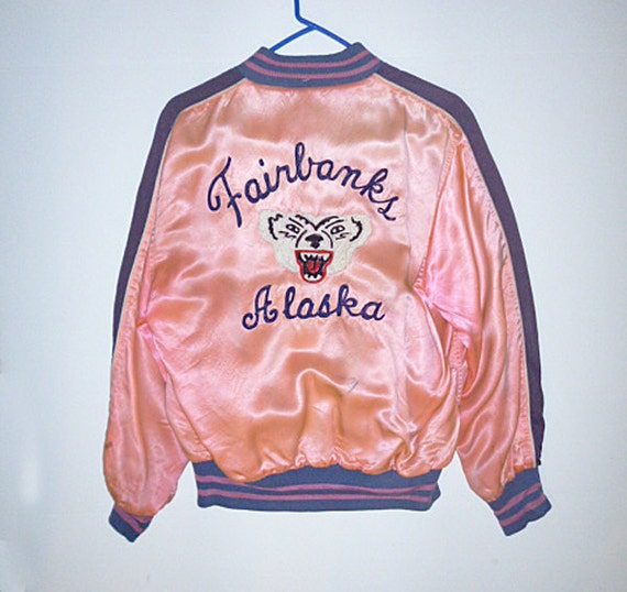 RESERVED for WILL1950's Reversible Pink Satin Bomber Jacket from Fairbanks Alaska