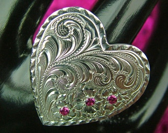 Sterling Silver engraved Heart Ring with Rubies