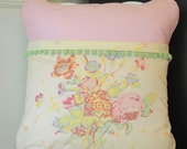 Bible Memory Verse Pillow Cover, Pink and yellow floral with green pom pom trim