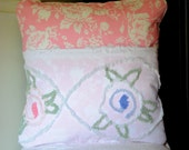 Bible Memory Verse Pillow Cover Pink and Vintage Chenille