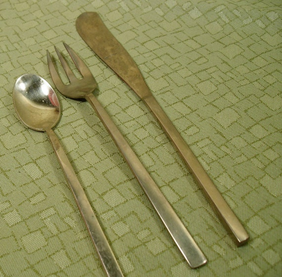 Gold colored flatware in mid century modern shapes - Handmade gs silverware ...