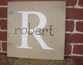 """12"""" x 12""""  Wooden sign with white monogram and brown first name"""