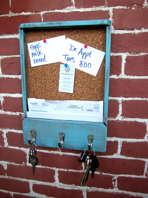 "11"" x 15.25"" x 2"" Wooden Mail Holder, Keyhook, & Corkboard"
