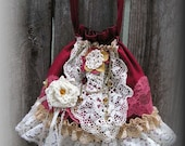 Frilly Drawstring Bag, handmade lacy burgundy cute romantic vintage lace doily, womens fabric purse SMALL