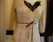 Soft Crochet Sweater, cotton beige black lace upcycled altered couture, MISSES SMALL