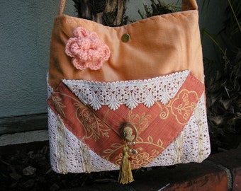 SALE Handmade Peach Bag, shoulder bag, soft thick velvet fabric bag, lace embellished velvety, long cross body strap,
