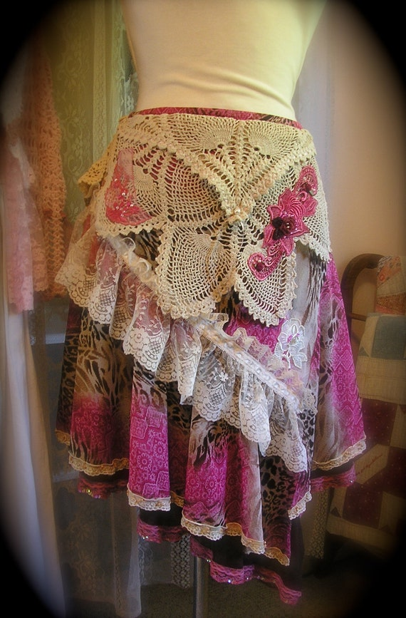 Layered Gypsy Skirt, uneven hem, lace, crocheted doilies, altered couture pink MEDIUM