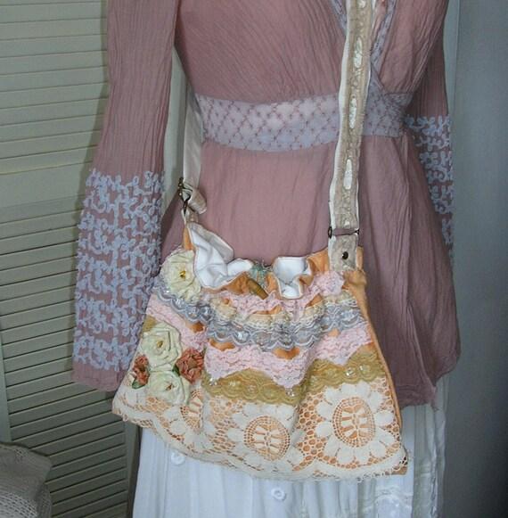 SALE Lace Fabric Bag, shabby n chic, handmade roses velvet chenille, SMALL