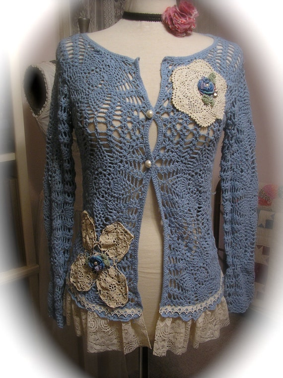 Doily Crochet Sweater Shabby Cotton Vintage Doilies Lace