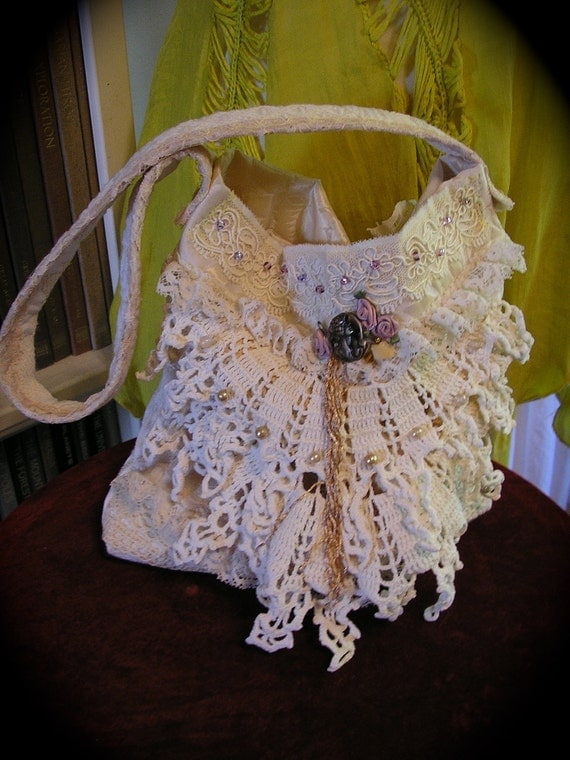 Victorian Chic Handbag, doily lace beads, antique white, Small size