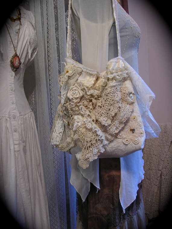 Shabby Victorian Purse bag, handmade vintage crocheted doily ruffled lace pearl beads