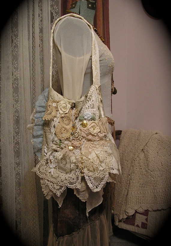 Victorian Gypsy Bag handmade shabby romantic layers ruffled laces doilies ivory creme