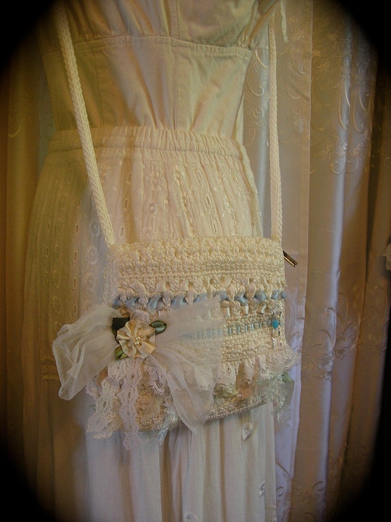 Little White Purse, lace ribbons embellished altered bag