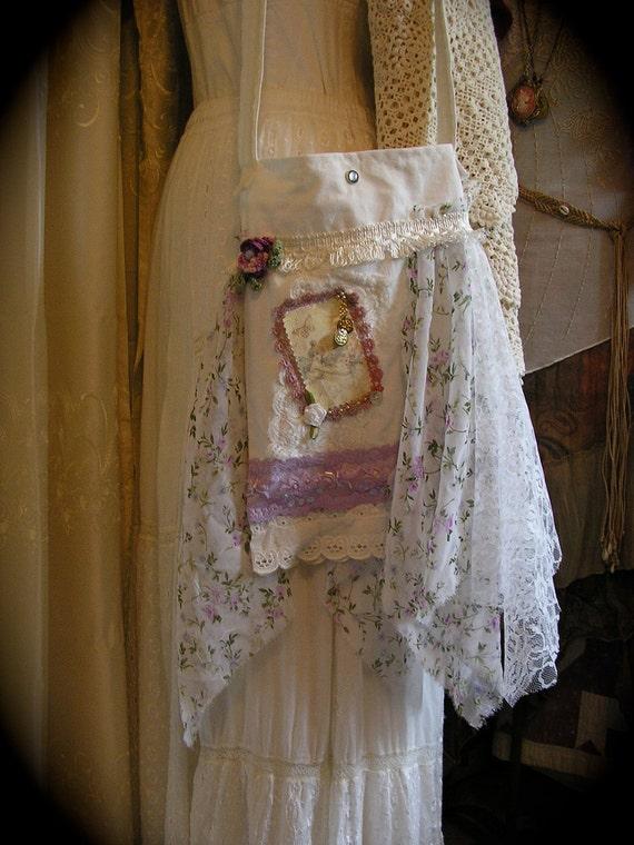 Whimsy Faerie Bag, lavendar floral chiffon, handmade lightweight dainty, shabby and chic
