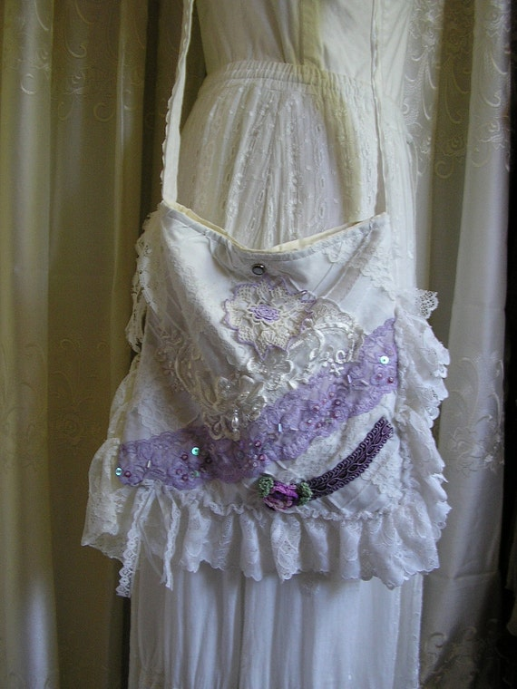 Shabby Cottage Bag, whimsy white victorian, soft lace ruffles, lilac lavendar, handmade