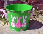 EASTER Bucket - Lime Green 5 QT Tin Bucket- PERSONALIZED Pail