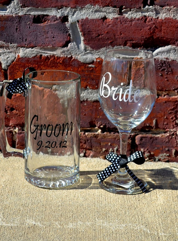 Bride and Groom Wine Glass and Beer Mug SET - Personalized GLASSWARE - Wedding Gift