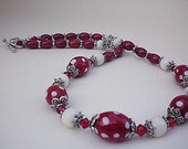 Red White Poka Dot Oval Lampwork Beaded Necklace