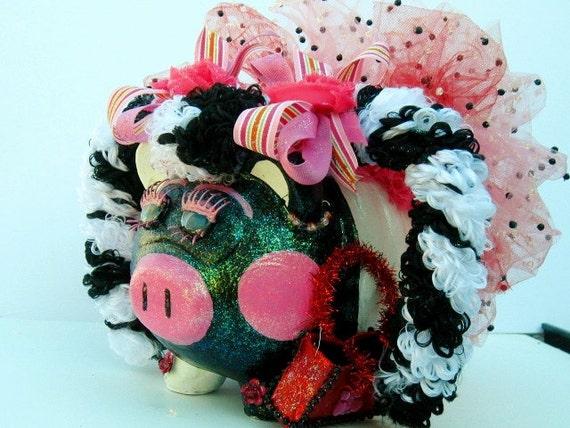 Piggy Bank- Black and White Ceramic