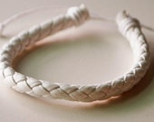 White braided leather cord Bracelet with black knot
