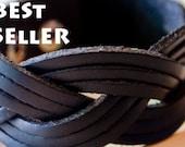 Classic Black Braided leather bracelet