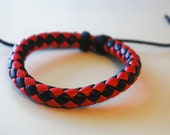 On Sale - Red and Black braided leather cord