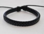 Black flat braided leather cord Bracelet