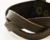 3 Brown Stripe Interleaced leather bracelet