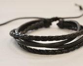 Brown leather cord interlaced with Brown cord bracelet