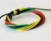 On Sale - Bob Marley hemp cord leather braided Black leather bracelet