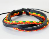 Bob Marley braided leather cord interlaced with Black Leather Bracelet