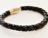 Large Brown braided leather cord with silver magnetic buckle bracelet