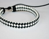 Black and White flat braided cord leather bracelet