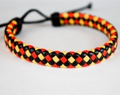 Red Yellow and Black Flat braided leather cord Bracelet