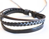 Brown braided cord with Brown Shinny leather bracelet