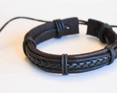 Brown braided cord with Brown leather hemp leather bracelet