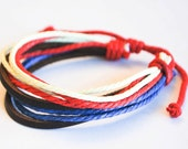 USA hemp cord with brown leather bracelet