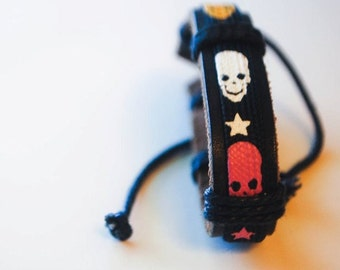 Multi color skull head leather bracelet