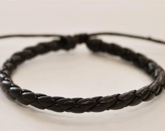 Brown braided leather cord Bracelet