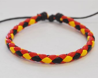 On Sale - Black Yellow Red braided leather cord Bracelet