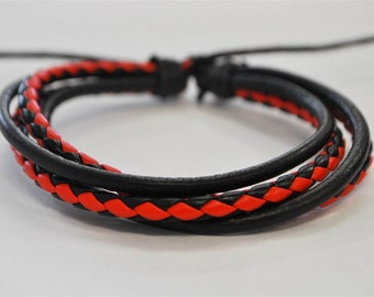 Black and Red leather cord interlaced with Black cord bracelet