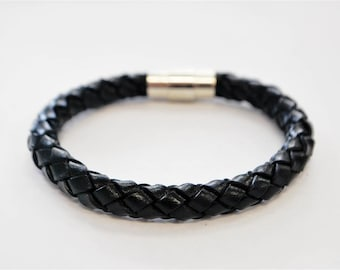 Black braided leather cord with silver magnetic buckle bracelet