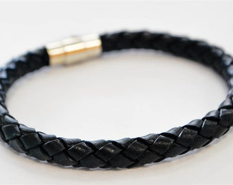 Large Black braided leather cord with silver magnetic buckle bracelet