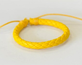 Yellow braided leather cord Bracelet